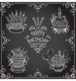 collection of vintage birthday cupcake vector image vector image