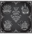 collection vintage birthday cupcake vector image