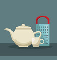 color poster of set teapot and porcelain cup with vector image vector image