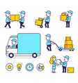 creative set of of delivery happy man in blue vector image