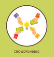 crowdfunding promo logo with hands that hold money vector image vector image