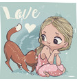 cute cartoon little girl with cat vector image