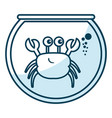 cute crab character in aquarium vector image vector image