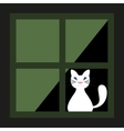 Cute White Cat Behind A Curtain In The Window vector image