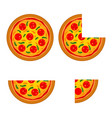 delicious italian pizza in whole and sliced vector image