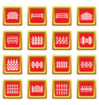 different fencing icons set red square vector image