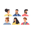 diverse happy young people portrait set vector image vector image