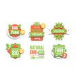 eco fresh food labels set green natural vegan vector image vector image