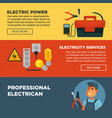 electrician professional electricity repair vector image vector image