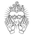 female open hands around sacred heart jesus vector image