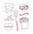 french fries and lips and hearts and popsicles vector image