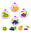fruits in a glass jar set vector image