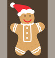 gingerbread man cookie wearing santa claus hat vector image