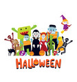 group of halloween monster characters vector image vector image