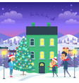 happy family and fir tree on night city background vector image vector image