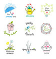 labels with hand written phrases about spring vector image