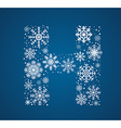Letter H font frosty snowflakes vector image