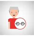 man elderly with gift glasses graphic vector image
