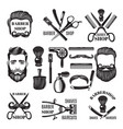monochrome pictures of barber shop tools vector image vector image