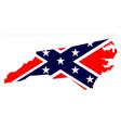 north carolina map and confederate flag vector image vector image