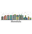 outline honolulu hawaii city skyline with color vector image vector image