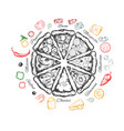 pizza with ingredients vector image vector image