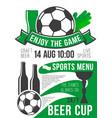 poster soccer sport bar football beer pub vector image vector image