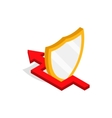 Protection shield and red arrow icon vector image