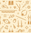 seamless pattern with elegant jewelry items drawn vector image vector image