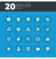 Server icons on round blue buttons vector image vector image