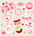 set of cute donuts icons vector image