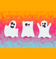 set of cute halloween ghost happy halloween card vector image vector image