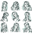 Set of portraits of beautiful women in different vector image vector image