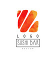 sushi bar logo design japanese food label badge vector image vector image