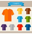T-shirts colored templates for your design in flat vector image vector image