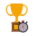trophy cup and timer symbol vector image vector image