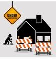 under construction worker barrier road house vector image vector image