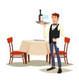 waiter in cafe professional waiter dinner vector image
