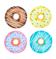 Watercolor set of donuts vector image vector image