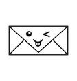 kawaii envelope cartoon vector image