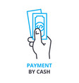 payment by cash concept outline icon linear vector image