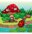 A bug dancing near the mushroom house vector image