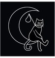 a cat sitting on the moon vector image vector image