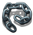 a fragment of steel chain isolated on a white vector image