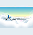 airplane flying in blue sky vector image vector image