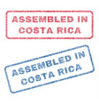 assembled in costa rica textile stamps vector image vector image
