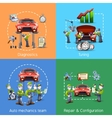 Auto mechanic 4 icons square banner vector image vector image