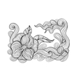 Black and white outline drawing Floral doodle vector image vector image