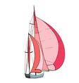 Boat with sails vector image vector image