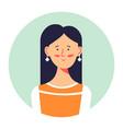 brunette female character portrait profile of vector image